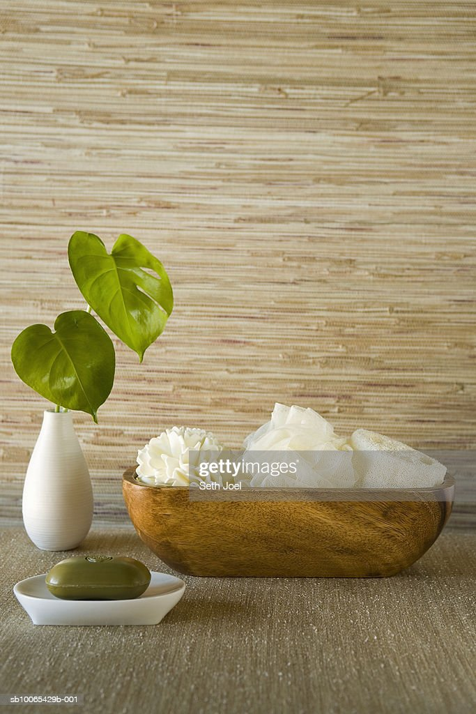 Wooden bowl containing sponges and soap : Foto stock