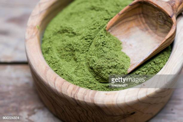 Wooden bowl of organic Moringa powder