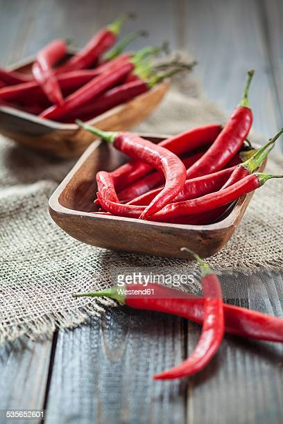 Wooden bowl of red chili peppers on jute and wood