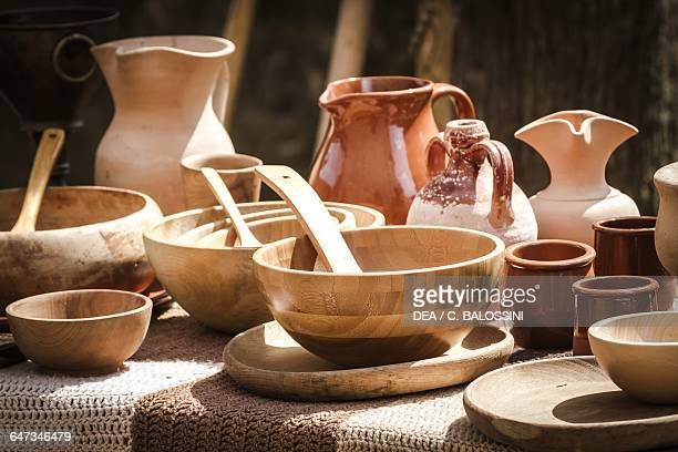 Wooden bowls and water jugs used by the Vikings Scandinavia 10th century Historical reenactment