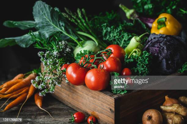 wooden box full of homegrown produce - tomato stock pictures, royalty-free photos & images