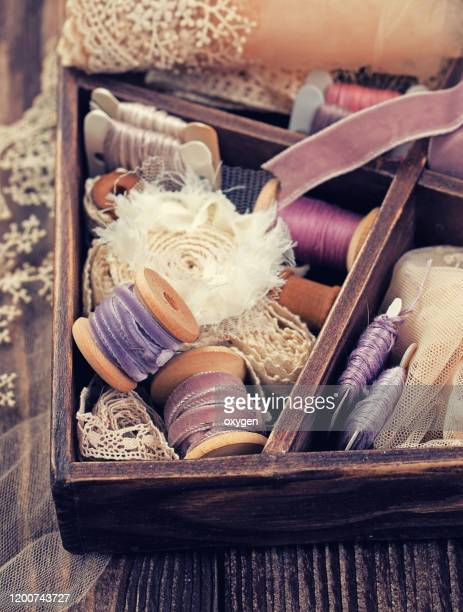 wooden box tools for needlework with laces, ribbons and threads - ribbon sewing item stock pictures, royalty-free photos & images