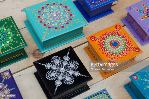 Wooden boxes decorated with mandalas