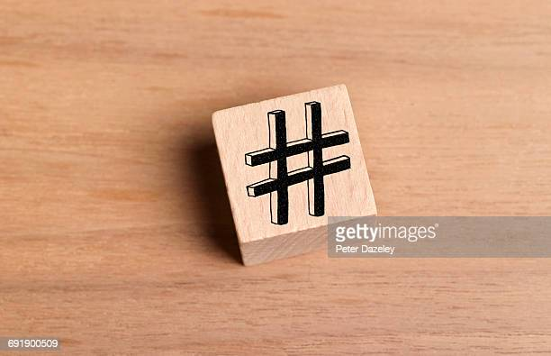 Wooden brick block with a Hashtag symbol