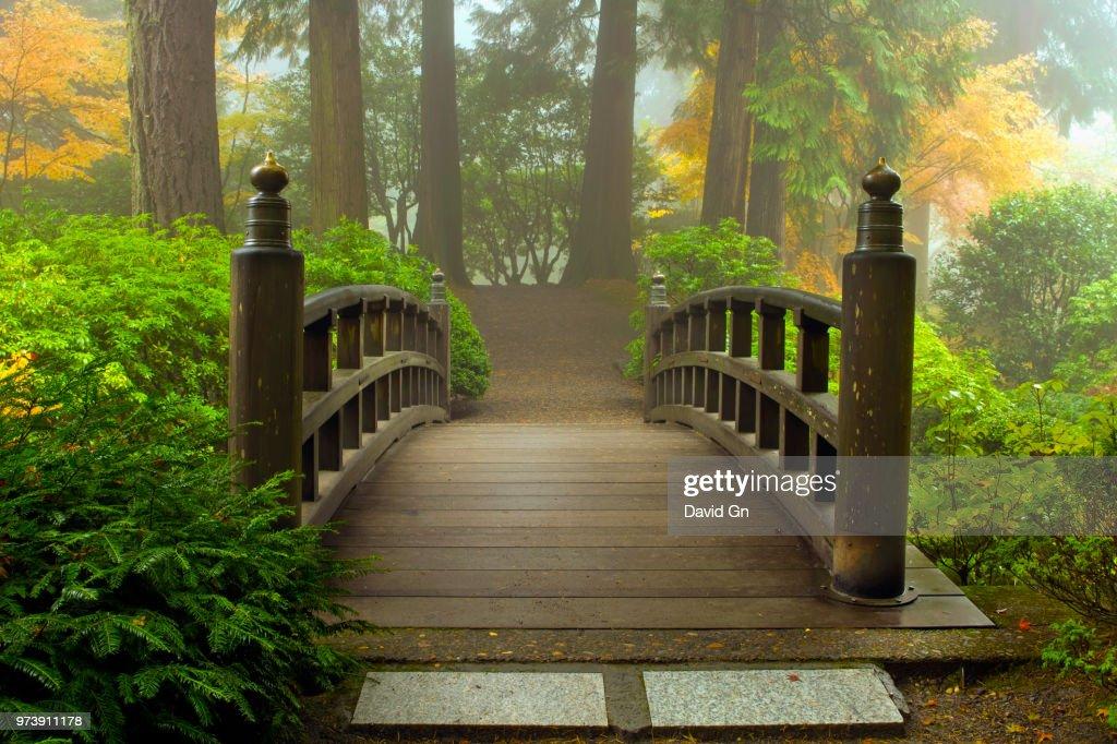 Wooden bridge at Portland Japanese Garden in autumn, Portland, Oregon, USA : Stock Photo