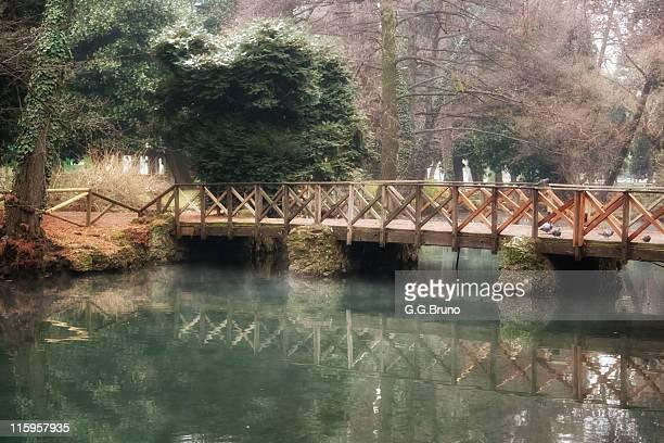 Wooden bridge over river at Sempione park
