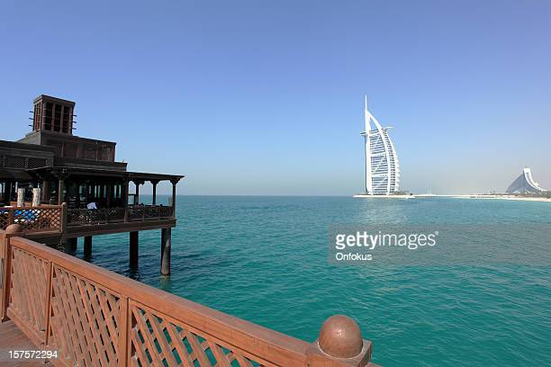Wooden Bridge Over Water Jumeirah Resort and Burj Al Arab