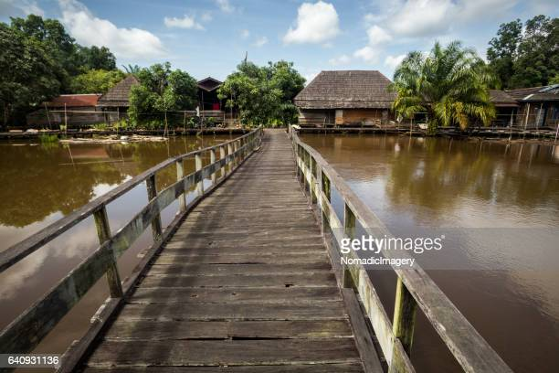 wooden bridge spanning a borneo river - dayak stock photos and pictures