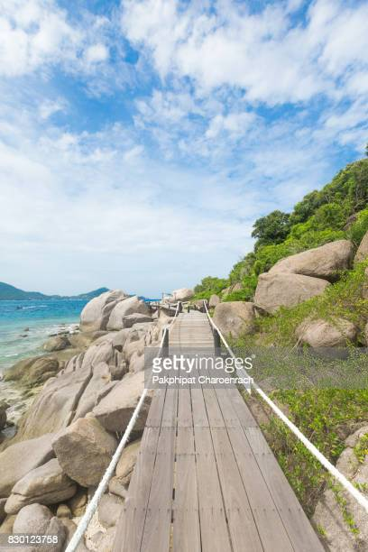 Wooden bridge to Viewpoint at Nangyuan island, Surat Thani Province, Southern of Thailand.