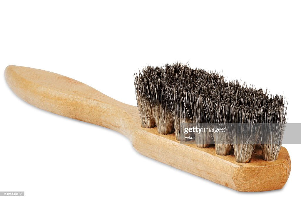 wooden brush for cleaning shoes with the bristles isolated : Stock Photo