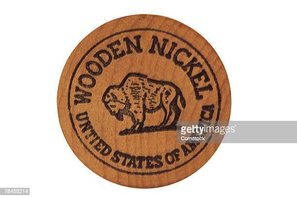 wooden buffalo nickel - 5セントコイン ストックフォトと画像