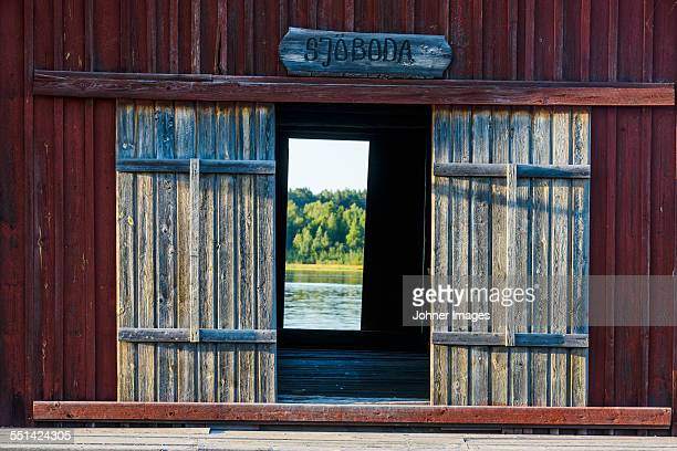 Wooden building at water