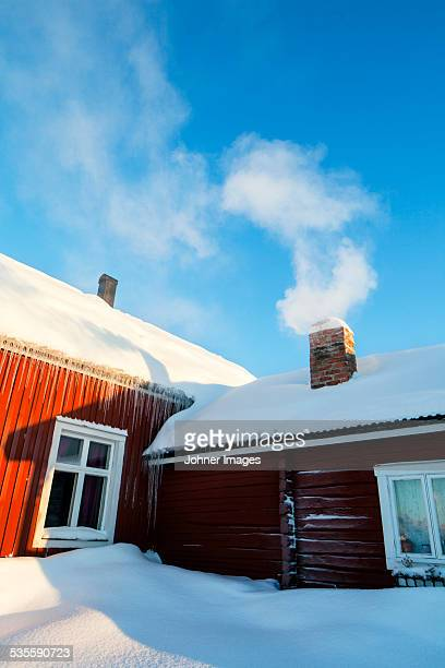 Wooden building at winter
