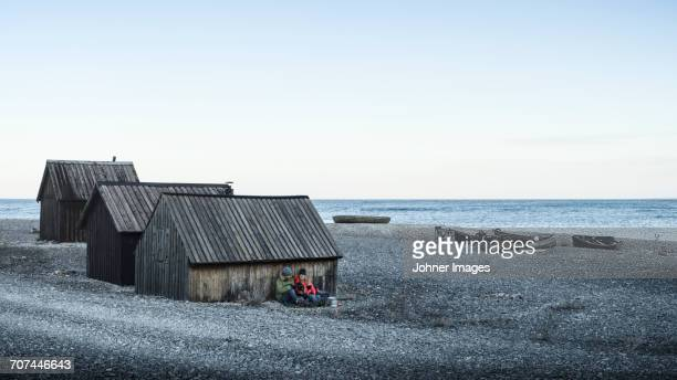 Wooden buildings at sea