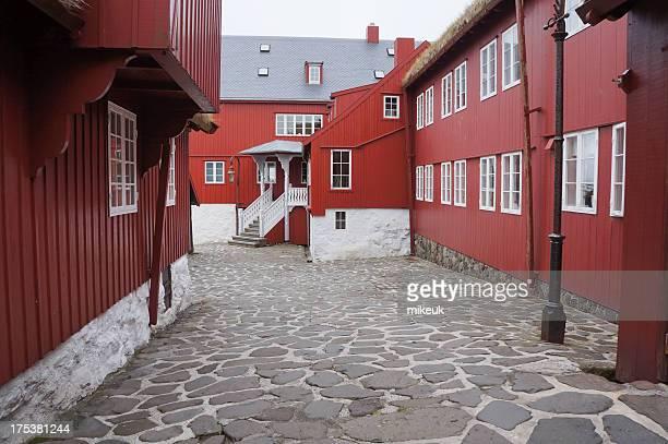 Wooden buildings in Torshavn Faroe Islands