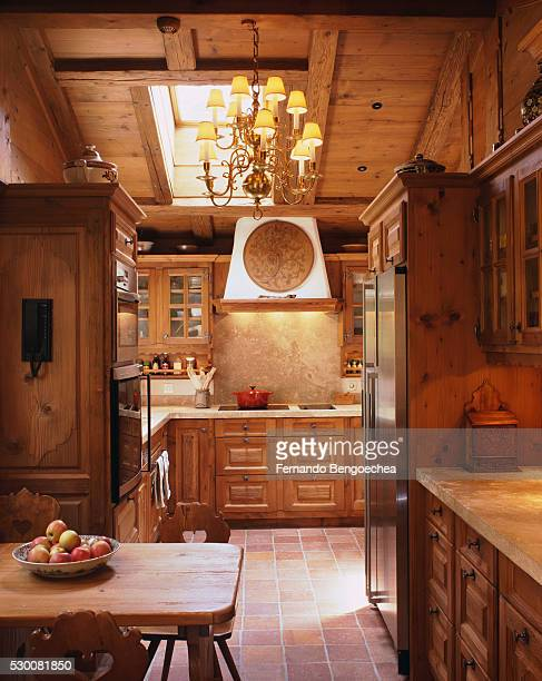Wooden Cabinets and Ceiling in Traditional Kitchen