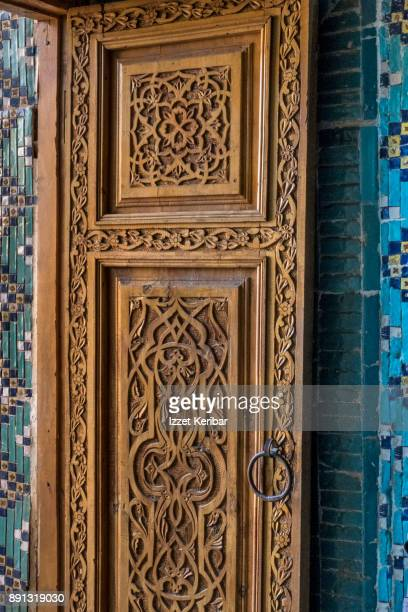 A wooden carved door, at the Sheikh Zinda Mausoleum, Samarkand, Uzbekistan