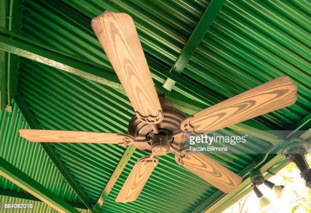 Green ceiling fan getty images wooden ceiling fan against a green ceiling at a house in key west florida mozeypictures Gallery