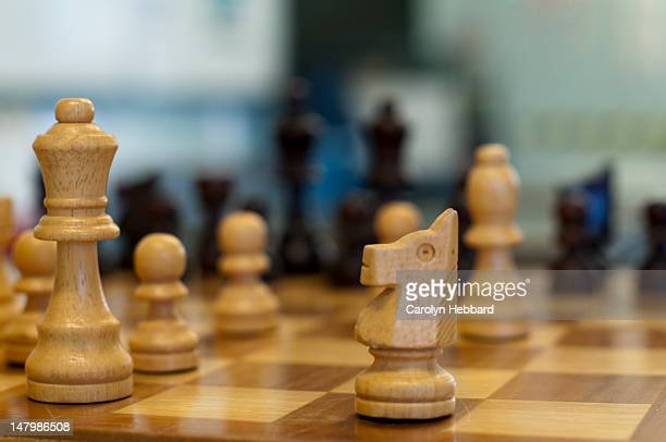 wooden chess set - sport set competition round stock photos and pictures