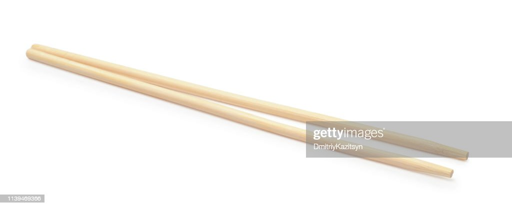 Wooden chopsticks isolated on white : Stock Photo