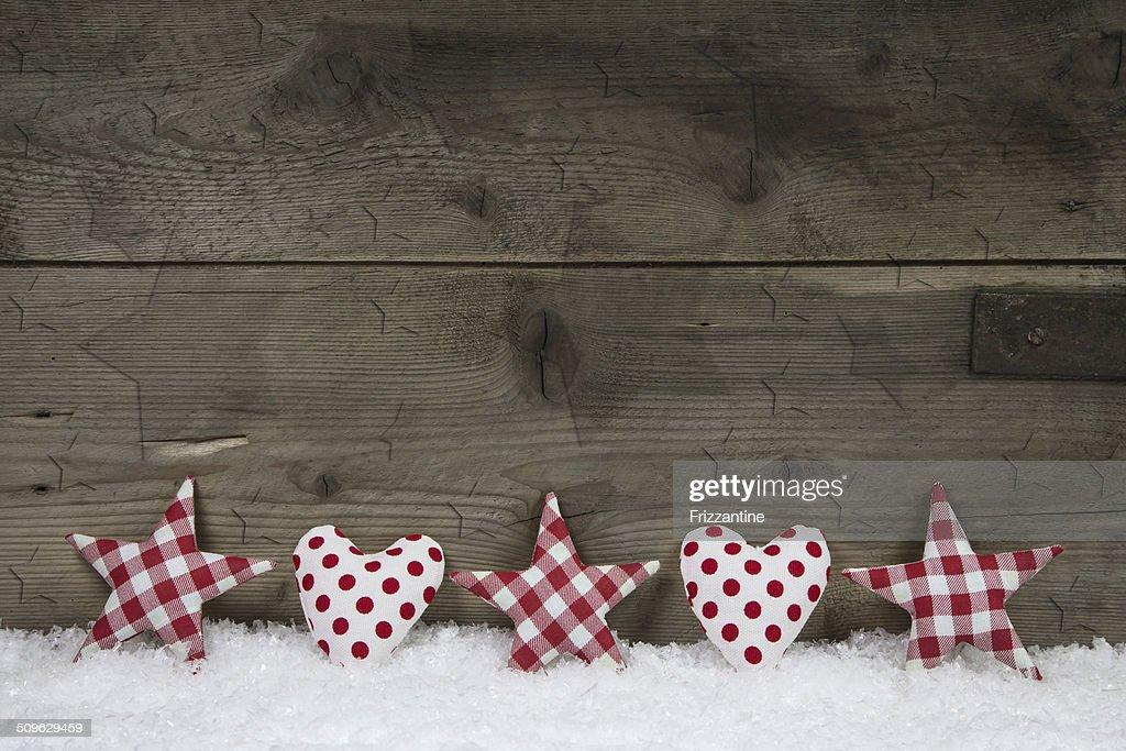 Legno Sfondo Di Natale Rosso E Bianco A Quadri Con Cuori E St Foto