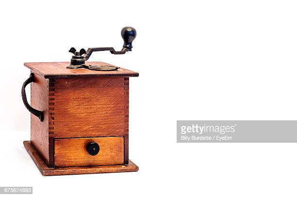 Wooden Coffee Grinder On White Background