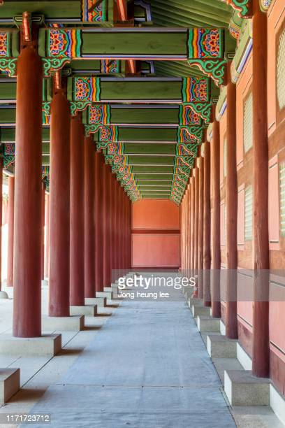 wooden columns inside gyeongbokgung palace - jong heung lee stock pictures, royalty-free photos & images