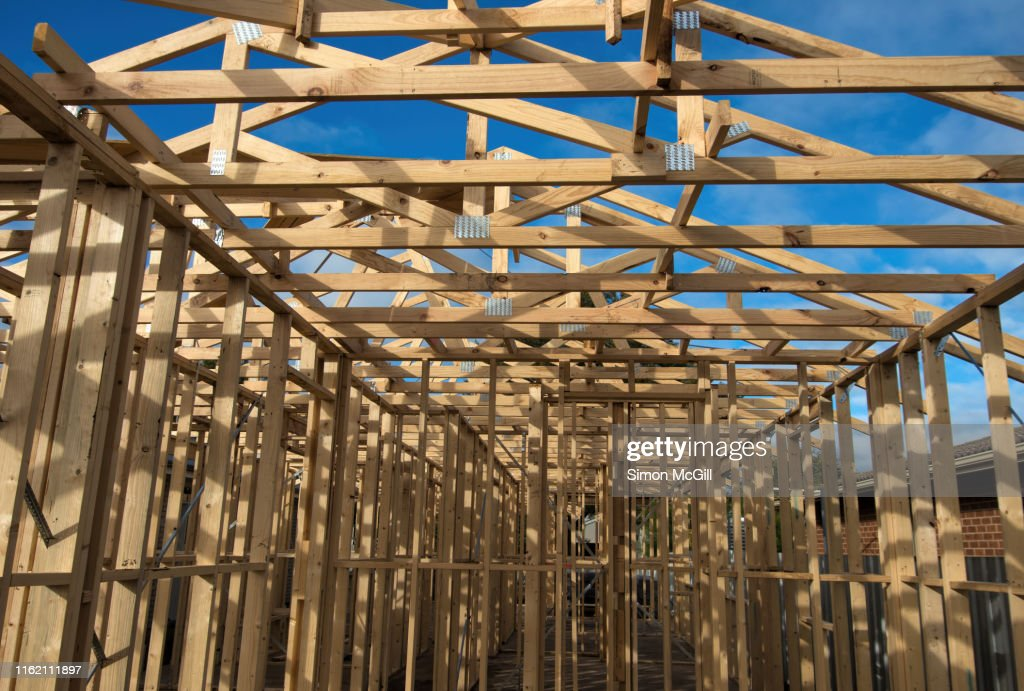 Wooden construction frame for a single story house : Stock Photo