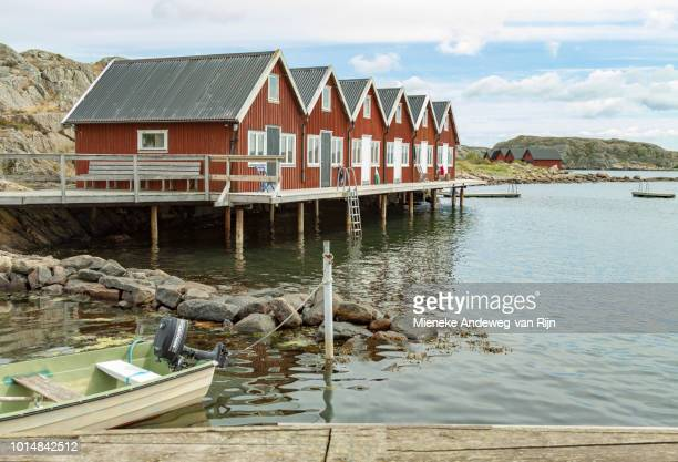 Wooden cottages at Hällene, on the Island of Tjörn, West Götaland County, Sweden.
