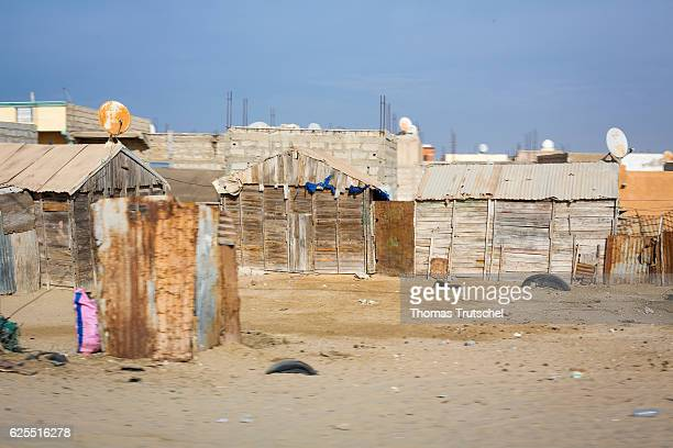 Wooden cottages in Nouakchott on November 16 2016 in Nouakchott Mauritania