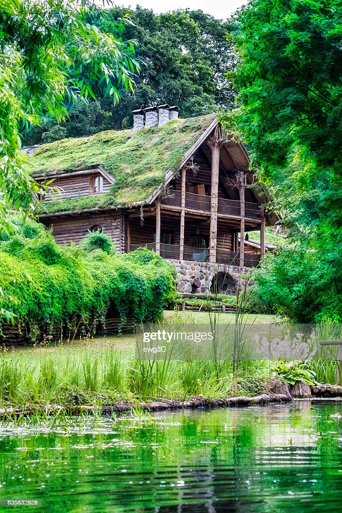 Wooden country style holiday villa, Poland : Stock Photo