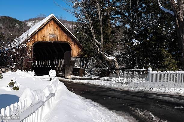 Wooden covered bridge in Woodstock Vermont