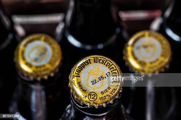Wooden crate with Trappist Westvleteren 12o / 102% ABV bottles best beer in the world brewed in the SintSixtusabdij / Abbey of Saint Sixtus of...