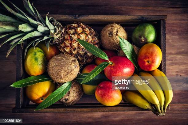 Wooden crates with assorted tropical fruits in rustic kitchen. Natural lighting