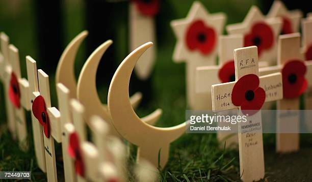 Wooden crescent moon shaped markers representing Muslim soldiers stand among crosses bearing remembrance poppies in the Royal British Legion Poppy...