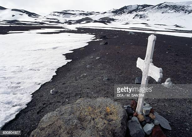 Wooden cross, Deception island, South Shetland islands, Antarctica.