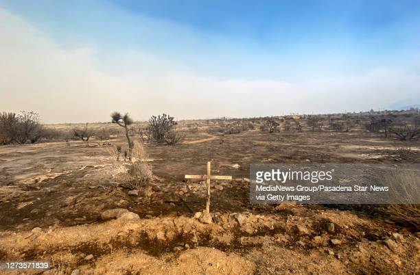 A wooden cross is all that stands after the Bobcat fire burned through Juniper Hills on Saturday September 19 2020