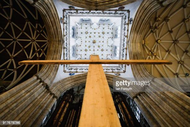 A wooden cross is suspended from York Minster's Central Tower as part of the Minster's preparations to mark the season of Lent on February 13 2018 in...