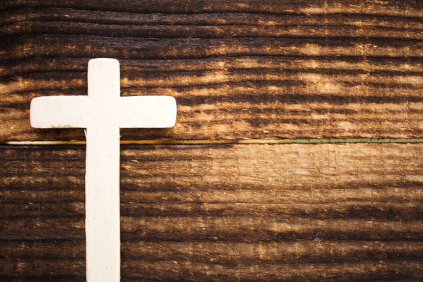 Wooden Cross On Dark Background