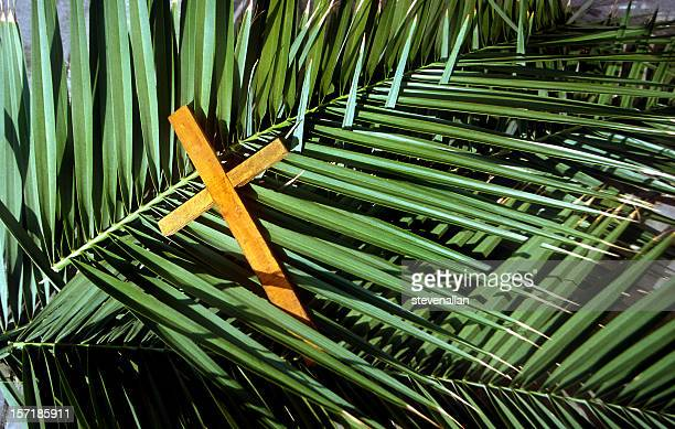 wooden cross on palm leafs palm sunday - palm sunday photos stock pictures, royalty-free photos & images