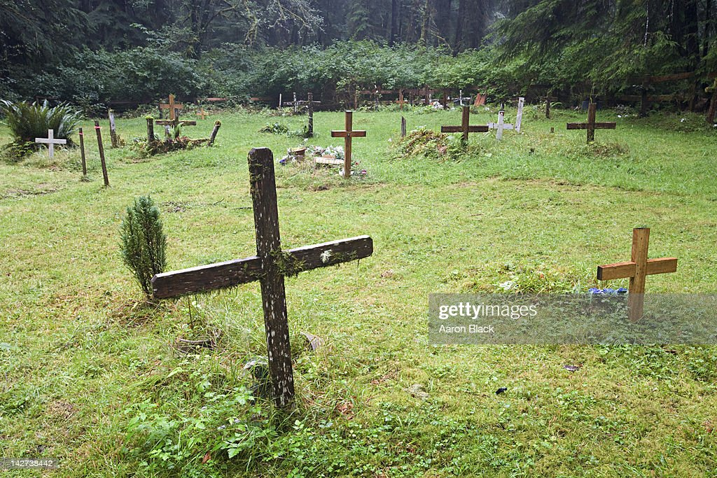 Wooden Crosses Mark Graves In A Grassy Field Stock Photo Getty Images