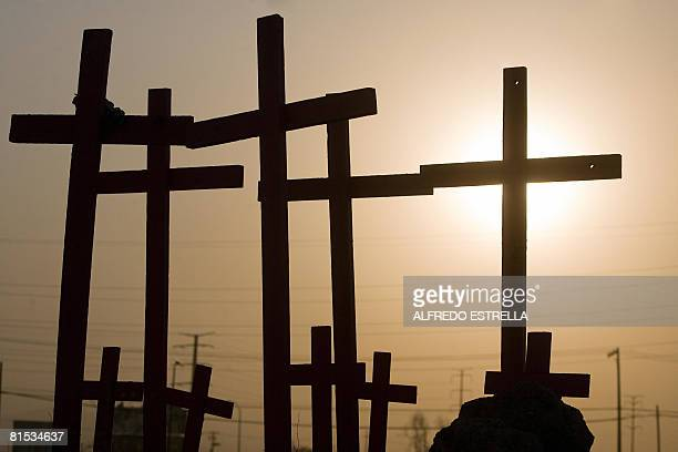 Wooden crosses were placed in a waste land where the corpses of eight murdered women were found in 2001 in Ciudad Juarez state of Chihuahua north...