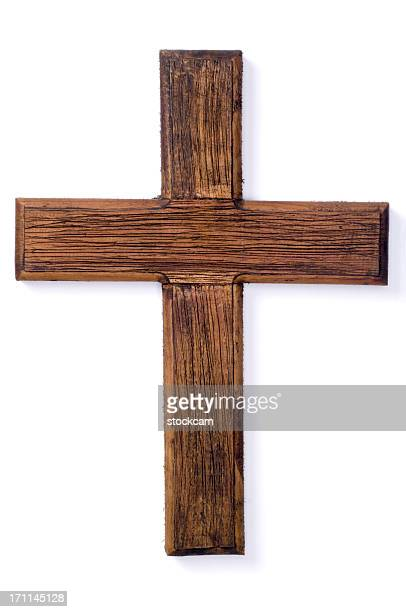 wooden crucifix cross on white background - religious cross stock pictures, royalty-free photos & images