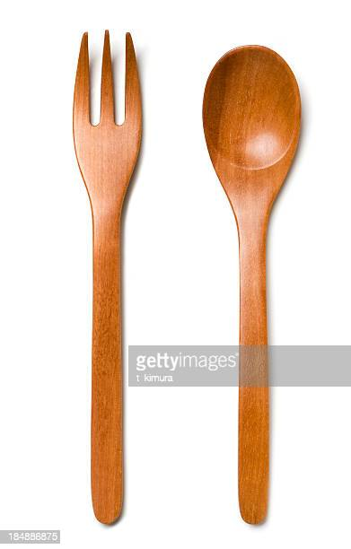 wooden cutlery - fork stock pictures, royalty-free photos & images