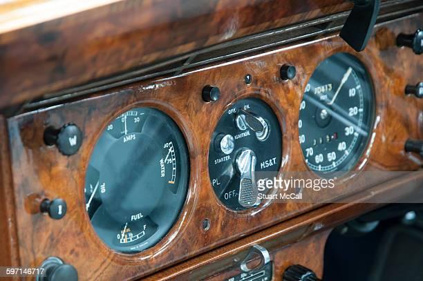 Wooden dashboard in vintage luxury car