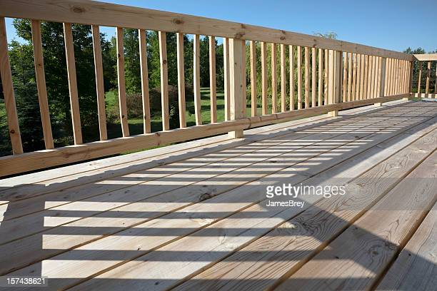 Wooden Deck Patio Surface, Pine Floor With Railing, Sun, Shadow