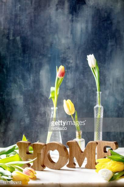 Wooden decorative letters word HOME with colorful tulips on white marble table with dark blue wall behind. Spring home decoration..
