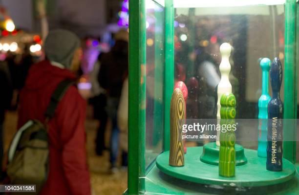 Wooden dildos on display at the Santa Pauli Christmas market in Hamburg Germany 19 November 2015 Santa Pauli the hottest Christmas market on the...