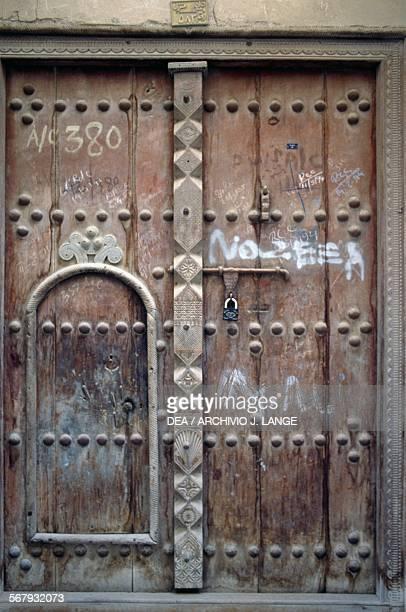 Wooden door in the historical centre of Dubai United Arab Emirates