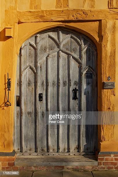 CONTENT] Wooden door of the Little Hall Tudor house in the center of Lavenham Suffolk